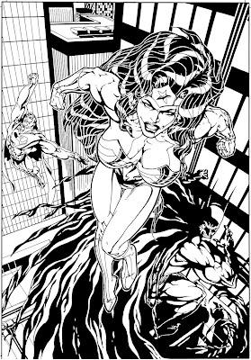 Bart Sears Wizard Unused Cover - Wonder Woman-Batman-Superman