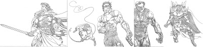 Bart Sears X-Men Timelines cards pencils