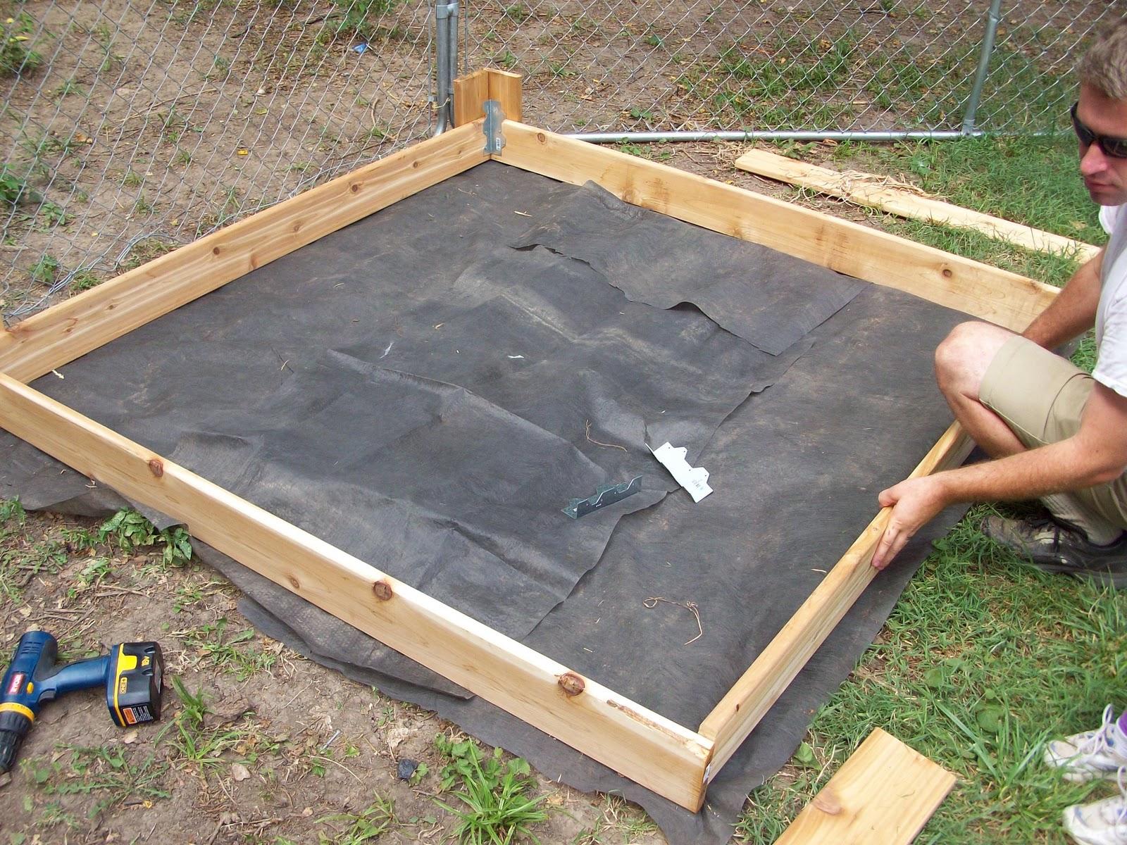 Landscape Fabric Under Deck : Homestead roots sandbox for addies birthday could also