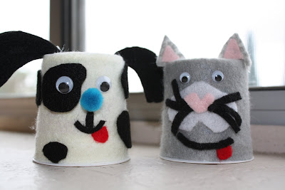 Reusing yogurt cups to  make felt animals