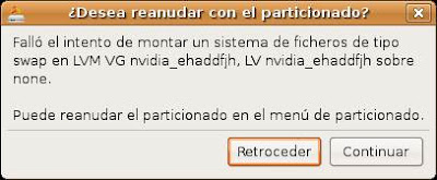 Falló el intento de montar un sistema de ficheros de tipo swap en LVM VG nvidia_ehaddfjh, LV nvidia_ehaddfjh sobre none.  Puede reanudar el particionado en el menú de particionado.