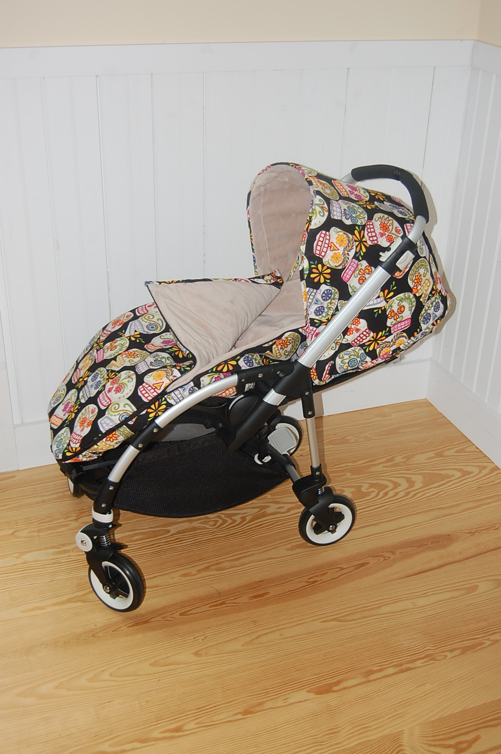 The canopy is created in the candy skulls and lined in latte solid minky. The footmuff is also created in candy skulls and lined with latte minky. & Maine Baby Treats - Custom Bugaboo Stroller Covers: Candy Skulls ...