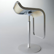Seat in curved wood, in leather, in laminate, in fabric or stainless steel.