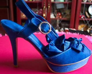 Matalan blue bow platform sandals