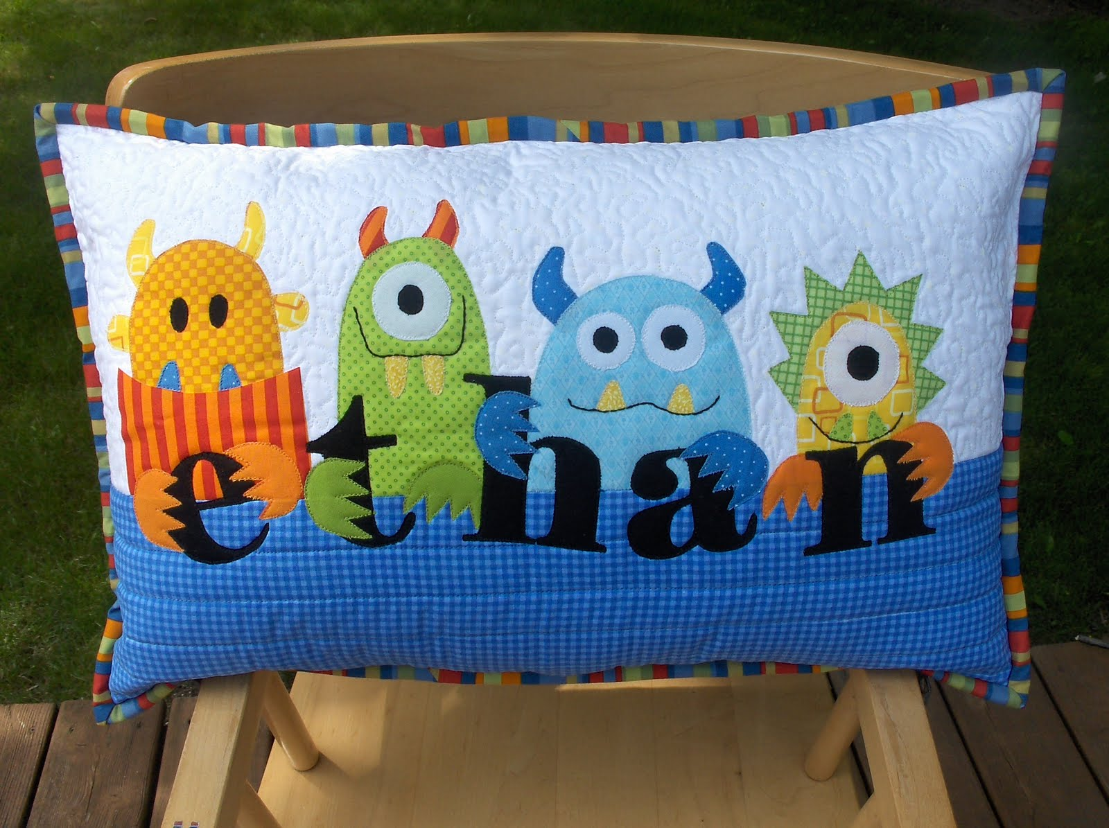 Quilting Ideas For Pillows : Quilting: Monster Pillow