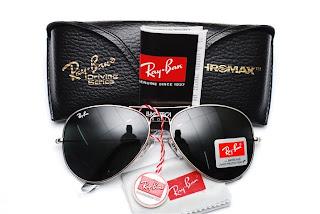 ray ban aviator silver frame black lens