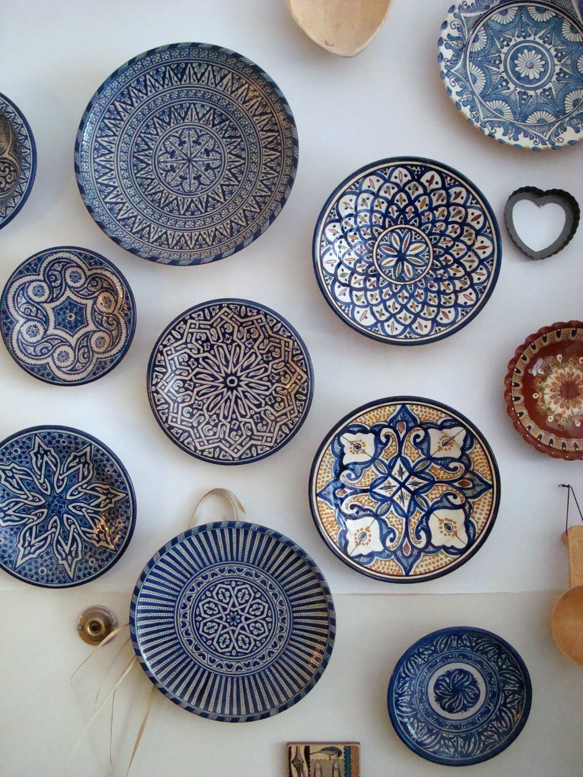 Amidst the wall of blue-patterned plates is a brown plate that was a gift from Bulgaria some wooden spoons that I bought in Romania and a small piece from ... & ART u0026 INSPIRATION: Moroccan Pottery - Collecting