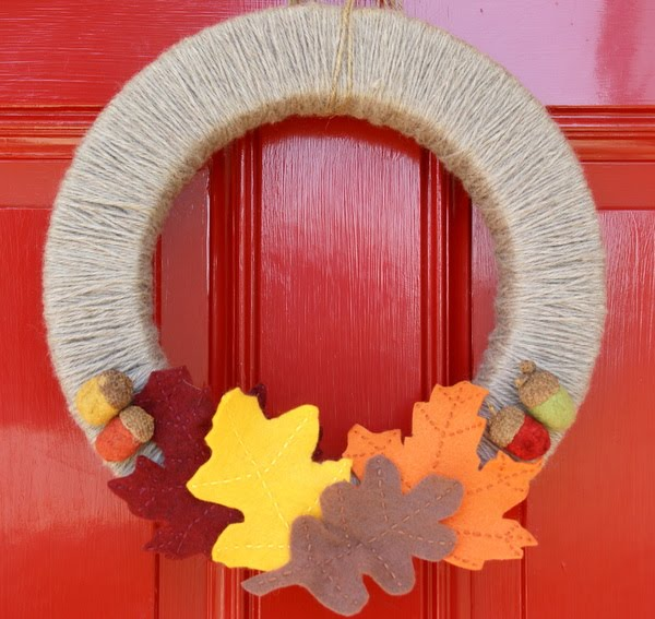 The speckled dog stashbuster fiber fall wreath putting for Home made thanksgiving decorations