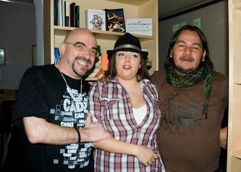 Con la poeta Nares montero,Kostas Kamaki y julio