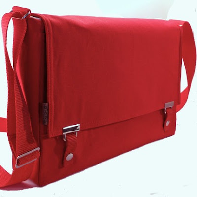 Red Cotton Canvas Messenger Bag