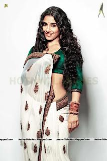 Vidya Balan sexy white saree green blouse maxim