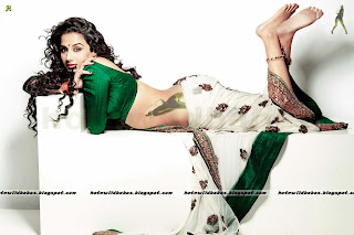 Vidya Balan cleavage ass figure exposed sareeless green blouse