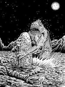Representación artística de Dagón en los Mitos de Cthulhu.