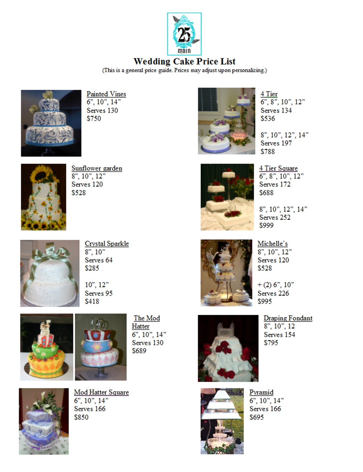 vauna 39 s cakes wedding cake price list