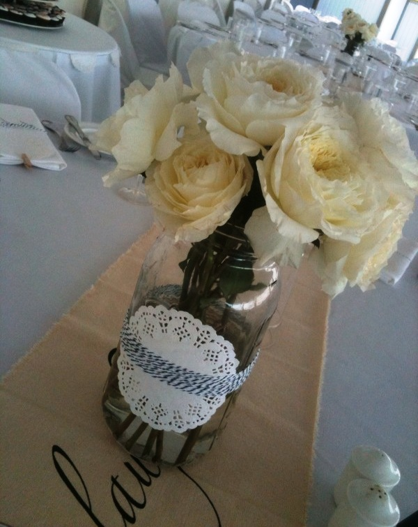 Kissy s wedding centerpieces with lace doilies black