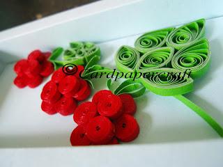 Quilling raspberry & handmade paper frame