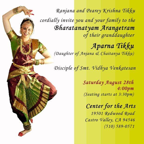 Aparna Tikkus Bharatanatyam Arangetram Official Invitations for