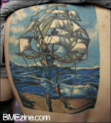 pirate ship. Dali tattoo