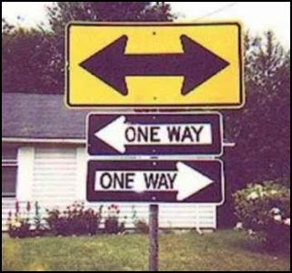 Street sign pointing left and right, with one-way signs pointing both directions under it.
