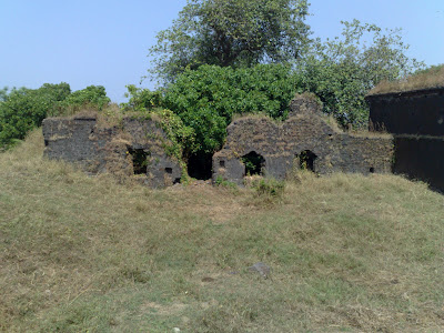 Ruins of Kanhoji Angre's Palace (Wada) in Alibag Fort.