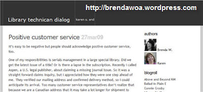 Library Technician Dialog Blog