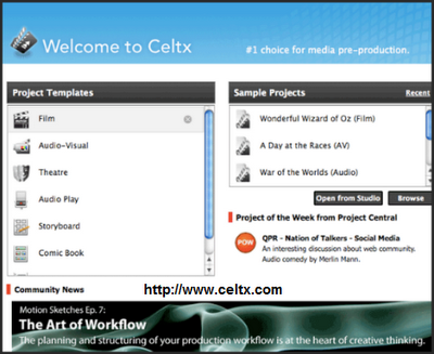 Celtx Main Screen