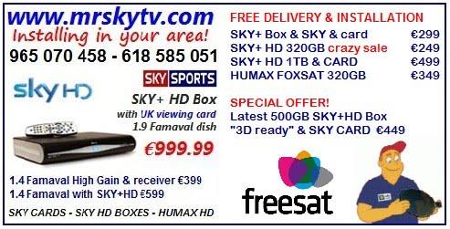 SKY TV AND FREESAT TV SPAIN