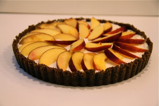 side view nectarine cheesecake gingersnap tart