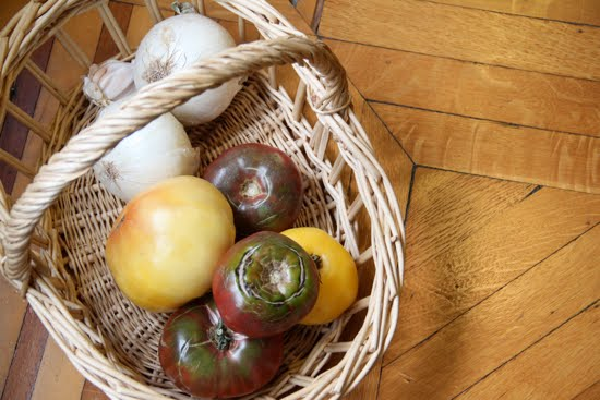 heirloom tomatoes basket