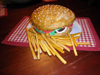 Cheeseburger and Fries Fondant Cake