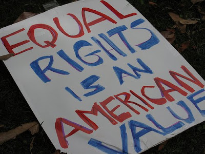 protest sign saying that equal rights is an American value