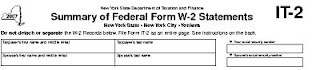 top of IT-2 Form, Summary of Federal Form W-2 Statements