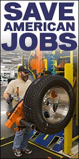 Save American Jobs over photo with auto worker on the job