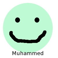 happy face with Muhammed written on it