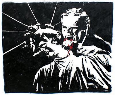 image of vampire Bush biting the bleeding neck of the statue of liberty