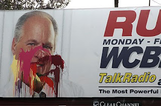 Limbaugh billboard gets it with different colors of spray paint