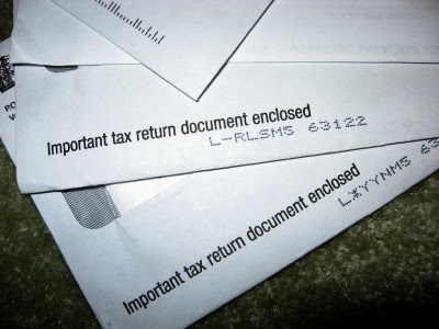 envelopes with tax forms in them