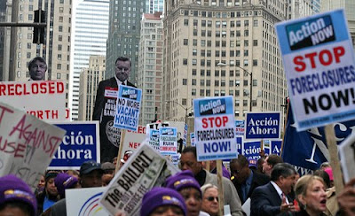 crowd shot during protest against the banksters