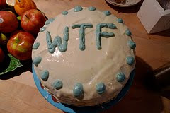 cake with WTF written on it