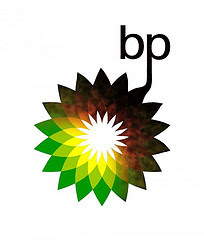 oil leaking from letters bp into rest of logo