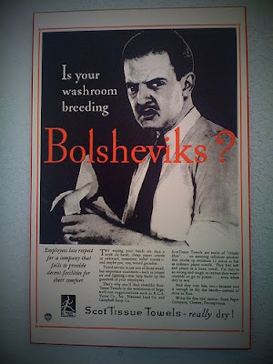 famous anti communist propaganda poster that asks if your washroom is breeding Bolsheviks
