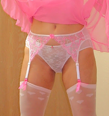 Wife wearing white bikini panties with stockings and garter belt