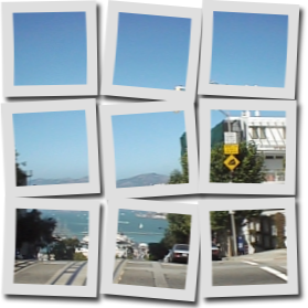 分割したポラロイド写真風に変換した画像