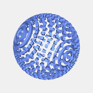 JOGLで描画した球状に配置した立方体