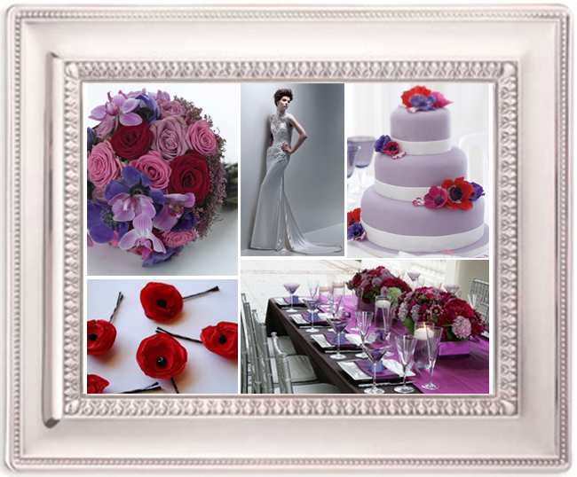 Lilac and Poppy Red is a candy sweet way of making a Purple theme stand out
