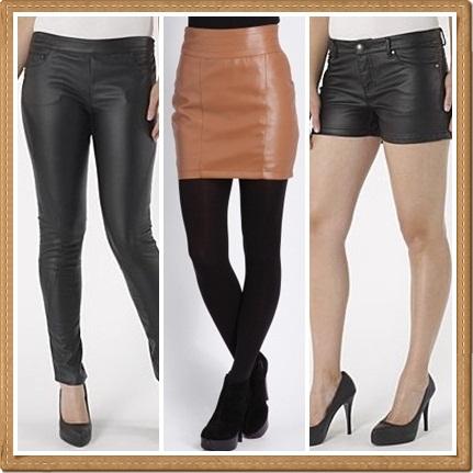 4d23039c8e3f2 Debenhams Redherring black leather look trousers £30; Missguided Liza leather  look mini skirt in tan £19.99; Debenhams Redherring black leather look  shorts ...
