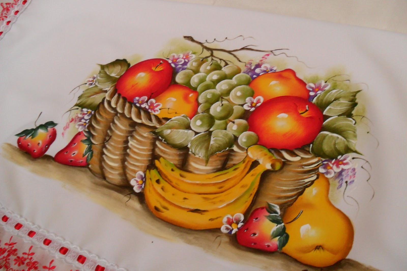 solange pinturas e artes: PINTURA EM TECIDO-CESTA DE FRUTAS