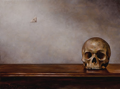 The memento mori themed painting, also titled 39;Schädel auf dem Tisch