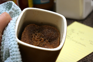 A chocolate cake made from scratch, cooked in microwave in less than 5 minutes
