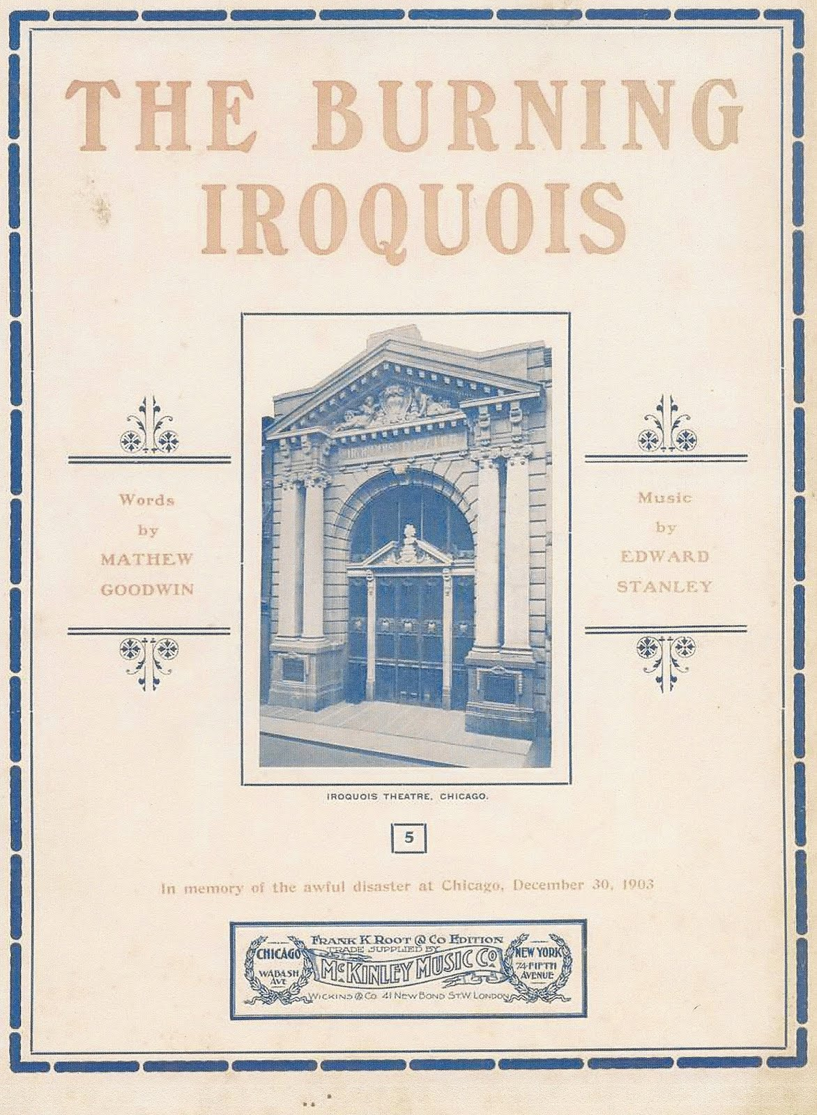 "Sheet Music to ""The Burning Iroquois"""